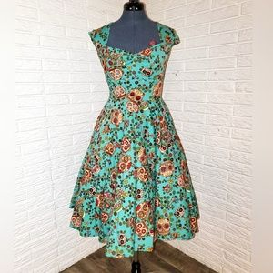 Hell Bunny Sugar Skulls Dress, Size XS, Pockets!